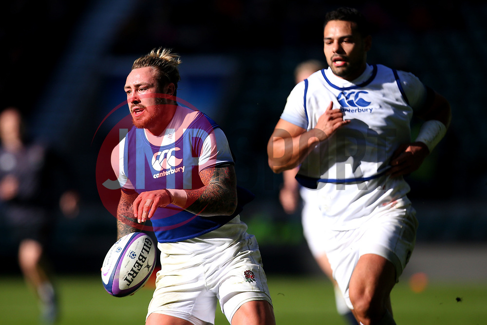 Jack Nowell of England goes past Ben Te'o of England during an open training session at Twickenham - Mandatory by-line: Robbie Stephenson/JMP - 16/02/2018 - RUGBY - Twickenham Stadium - London, England - England Rugby Open Training Session