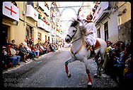 Horseman of the Labradores army, first Christians to parade @ the Moors & Christians fest; Alcoy. Spain