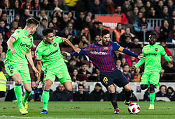 BARCELONA, Jan. 18, 2019  FC Barcelona's Lionel Messi (2nd R) and Lavente's Roberto Suarez Pier (2nd L) vie for the ball.    during the Spanish King's Cup eighth final match between FC Barcelona and Lavente in Barcelona, Spain, on Jan. 17, 2019. (Credit Image: © Joan Gosa/Xinhua via ZUMA Wire)