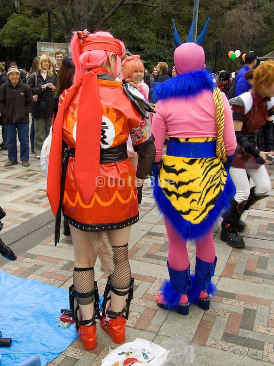 Japanese youths dressed up in Yoyogi park Harajuku Tokyo Japan