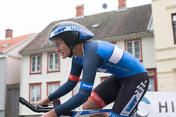 Hayley Jones (GBR) of Team WNT leans into a corner during the prologue of the Ladies Tour of Norway - a 3.4 km time trial, starting and finishing in Halden on August 17, 2017, in Ostfold, Norway. (Photo by Balint Hamvas/Velofocus.com)