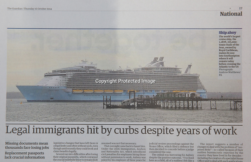 Royal Caribbean International's Oasis of the Seas Southampton visit cuttings.<br /> The Guardian161014 (not sbw-photo pic)