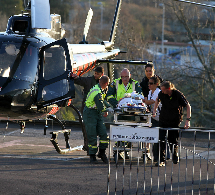 An air ambulance brings a patient to Rotorua Hospital after a school bus collided with a logging truck near Ruatoki, Taneatua, New Zealand, Monday, September 05, 2011. Credit:SNPA / Peter Graney.