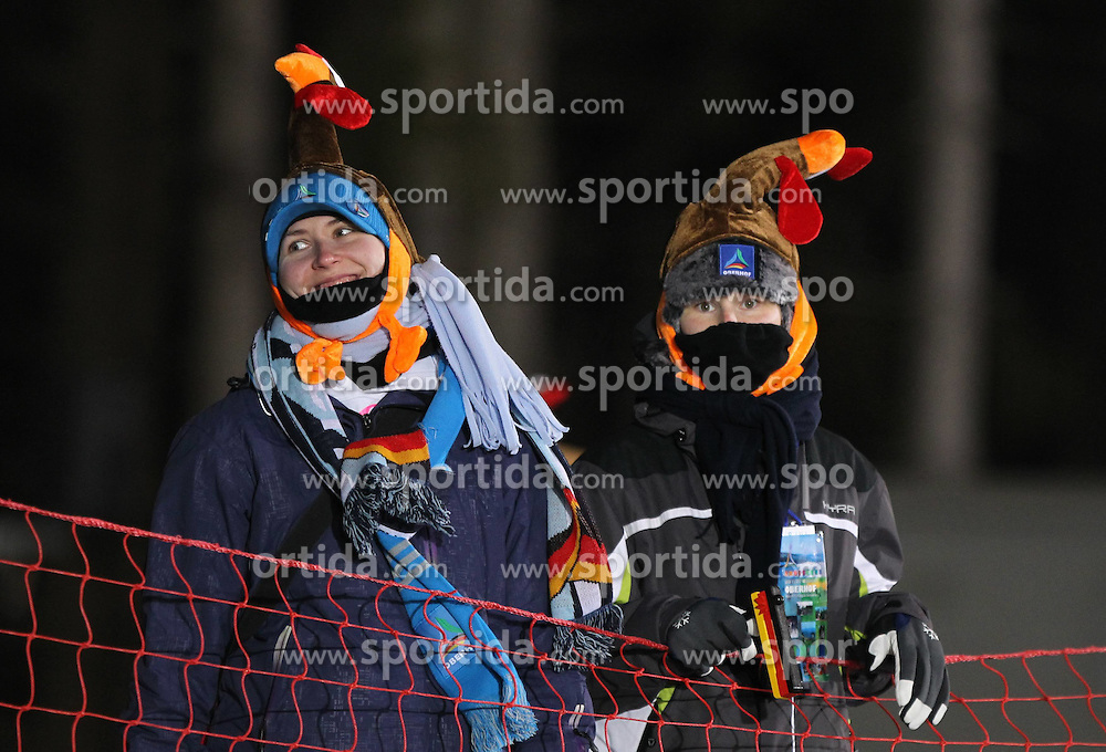 04.01.2012, DKB-Ski-ARENA, Oberhof, GER, E.ON IBU Weltcup Biathlon 2012, Staffel Frauen, im Bild Fans mit lustigen Hühnermützen .// during relay Ladies of E.ON IBU World Cup Biathlon, Thüringen, Germany on 2012/01/04. EXPA Pictures © 2012, PhotoCredit: EXPA/ nph/ Hessland..***** ATTENTION - OUT OF GER, CRO *****