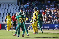 Wayne Parnell of SA celebrates a wicket with Quinton de Kock and other team mates during the 2nd ODI match between South Africa and Australia held at The Wanderers Stadium in Johannesburg, Gauteng, South Africa on the 2nd October  2016<br /> <br /> Photo by Dominic Barnardt/ RealTime Images