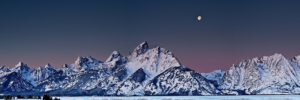 """Full moon at sunrise over the Grand Tetons from the Snake River Overlook in Grand Teton National Park<br /> <br /> For production prints or stock photos click the Purchase Print/License Photo Button in upper Right; for Fine Art """"Custom Prints"""" contact Daryl - 208-709-3250 or dh@greater-yellowstone.com"""