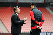 Jose Fonte (6) of Southampton having a serious talk on the pitch with Southampton manager Claude Puel amid rumours that he is about to leave the club in the January transfer window before the Premier League match between Bournemouth and Southampton at the Vitality Stadium, Bournemouth, England on 18 December 2016. Photo by Graham Hunt.