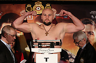March 8, 2019; Verona, NY, USA; Sergey Kuzmin steps on the scale to weigh in for his bout at the Turning Stone Resort and Casino in Verona, NY.  Mandatory Credit: Ed Mulholland/Matchroom Boxing USA