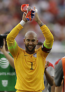JACKSONVILLE, FL - JUNE 07:  Goalie Tim Howard #1 of the United States acknowledges the crowd after the international friendly match against Nigeria at EverBank Field on June 7, 2014 in Jacksonville, Florida.  (Photo by Mike Zarrilli/Getty Images)