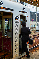 Japon, île de Honshu, région de Kansaï, prefecture de Wakayama, station de train de Kishi avec Tama le chat chef de gare// Japan, Honshu island, Kansai region, Wakayama prefecture, Kishi train station with Tama the station master