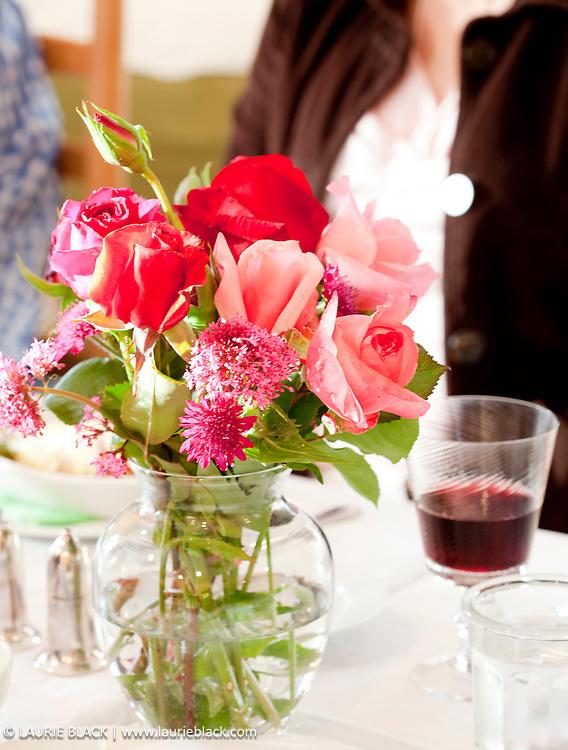 Dinner party flower arrangement