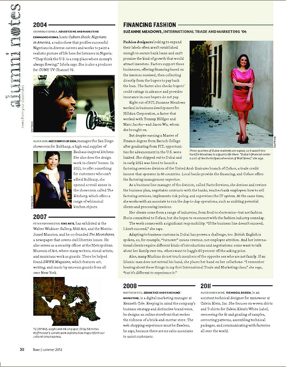 Hue--FIT's alumni magazine summer 2012, Old Dubai, New York Fashion Institute of Technology, Graduate, Alumina