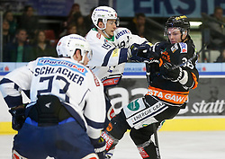 06.12.2015, Eisstadion Liebenau, Graz, AUT, EBEL, Moser Medical Graz 99ers vs EC VSV, 28. Runde, im Bild Markus Schlacher (EC VSV), Stefan Bacher (EC VSV) und Morten H. Poulsen (Moser Medical Graz 99ers) // during the Erste Bank Icehockey League 28th Round match between Moser Medical Graz 99ers and EC VSV at the Ice Stadium Liebenau, Graz, Austria on 2015/12/06, EXPA Pictures © 2015, PhotoCredit: EXPA/ Erwin Scheriau