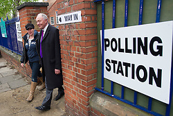 © London News Pictures. 03/05/2012. London, UK.  Labour Mayoral candidate KEN LIVINGSTONE leaving his local polling station with his wife EMMA BEAL at Nora Primary School in Cricklewood, London where he voted in the 2012 London mayoral elections on May 3, 2012. Photo credit: Ben Cawthra/LNP
