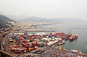 Overview from south of the port of Salerno, Campania, Italy