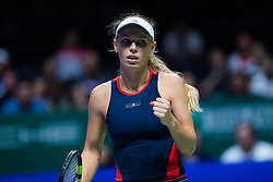 October 21, 2018 - Kallang, SINGAPORE - Caroline Wozniacki of Denmark in action during her first match at the 2018 WTA Finals tennis tournament (Credit Image: © AFP7 via ZUMA Wire)