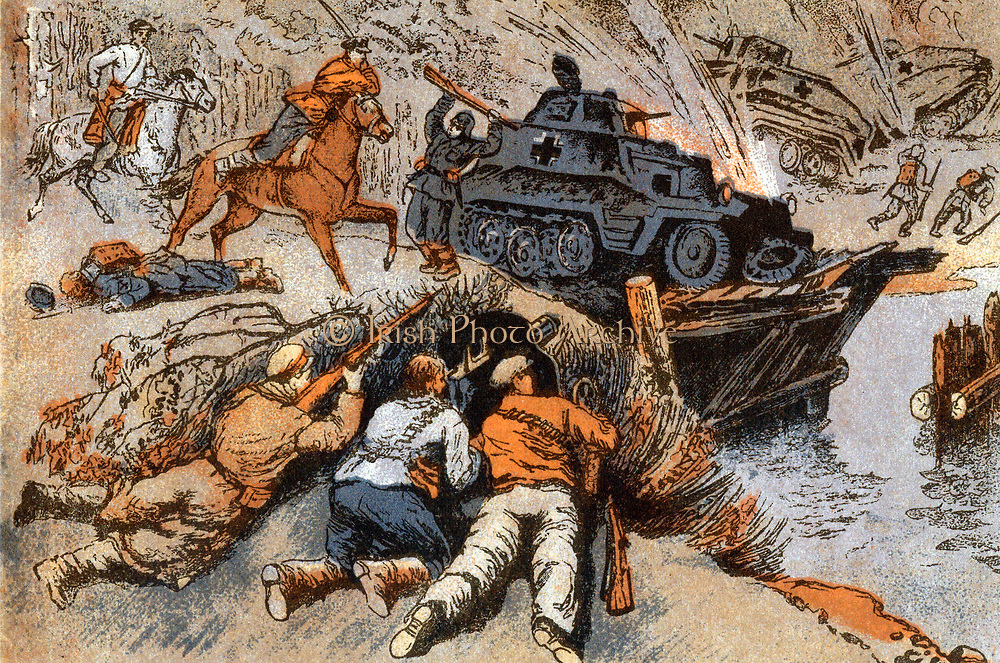 Postcard from Russia showing anti-tank operations against the advancing German army circa 1942