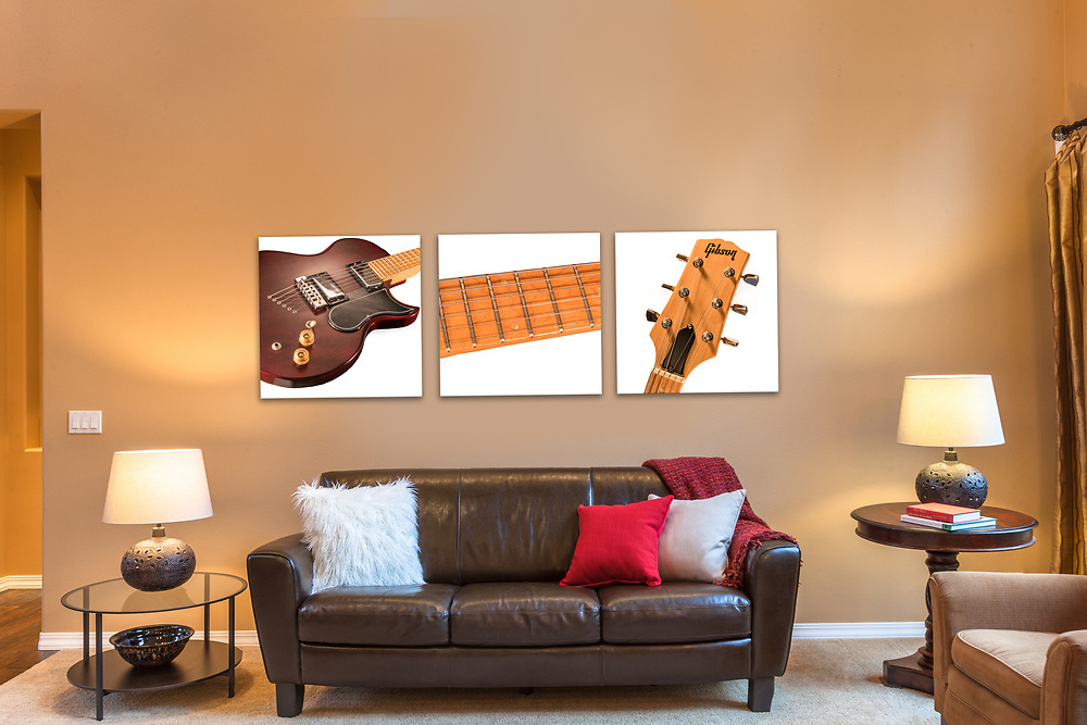 Triptych Wall Art,Gibson Guitar L6-MS,