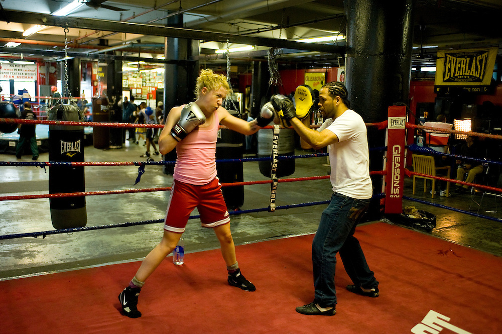 Gleason's Gym, Dumbo, Brooklyn, New York.Many women practice boxing at the gym.