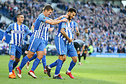Brighton and Hove Albion defender Connor Goldson (18) celebrates his goal 2-0 during the The FA Cup match between Brighton and Hove Albion and Coventry City at the American Express Community Stadium, Brighton and Hove, England on 17 February 2018. Picture by Phil Duncan.