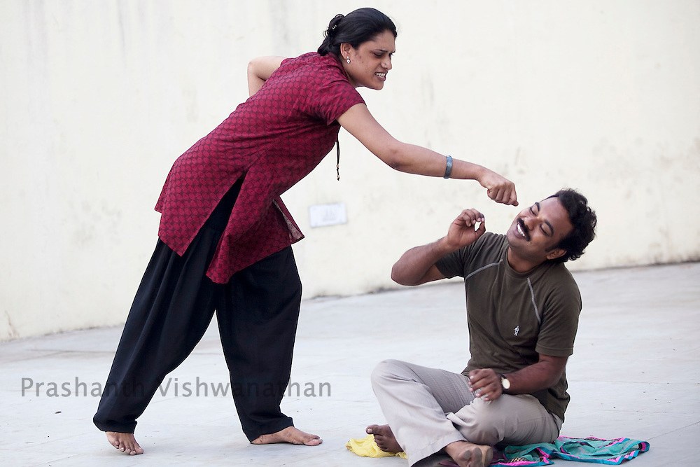 Sapita an Aravani ( eunuch) enacts a woman's role during a practice session in a dramatics class with other men and women in an open park in Chennai, India, on Friday January 14, 2011. Transgender people are called hijras in India and are often discriminated against in jobs forcing them to resort to begging and prostitution. They meet in Koovagam, a village in the Ulundurpet taluk in Villupuram district, Tamil Nadu in the Tamil month of Chitrai (April/May) for an annual festival which takes place for fifteen days..Tamil Nadu has an estimated population of 30,000 transgender people.[1] It has made great strides in trying to integrate transgender people into society. This includes welfare schemes initiated by the Government and acceptance of transgender people into the mainstream media and film industry.Photographer: Prashanth Vishwanathan/HELSINGIN SANOMAT