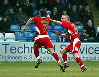 Photo: Chris Ratcliffe.<br />Gillingham v Bristol City. Coca Cola League 1. 26/12/2005.<br />Scott Murray (L) of Bristol celebrates his goal with Dave Cotterill.