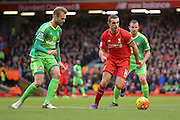Liverpool midfielder Jordan Henderson  during the Barclays Premier League match between Liverpool and Sunderland at Anfield, Liverpool, England on 6 February 2016. Photo by Simon Davies.