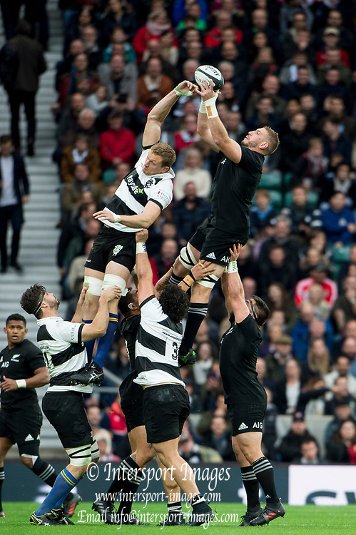 "Twickenham, Surrey. England.   All Blacks' Luke ROMANO, collects the ""line out ball"",  during the Killik Cup, Barbarians vs New Zealand. Twickenham. UK<br /> <br /> Saturday  04.11.17<br /> <br /> [Mandatory Credit Peter SPURRIER/Intersport Images]"