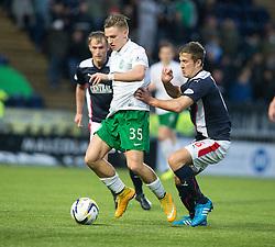 Hibernian's Jason Cummings and Falkirk's Will Vaulks.<br /> haft time ; Falkirk 0 v 0 Hibernian, Scottish Championship game played 6/12/2014 at The Falkirk Stadium .