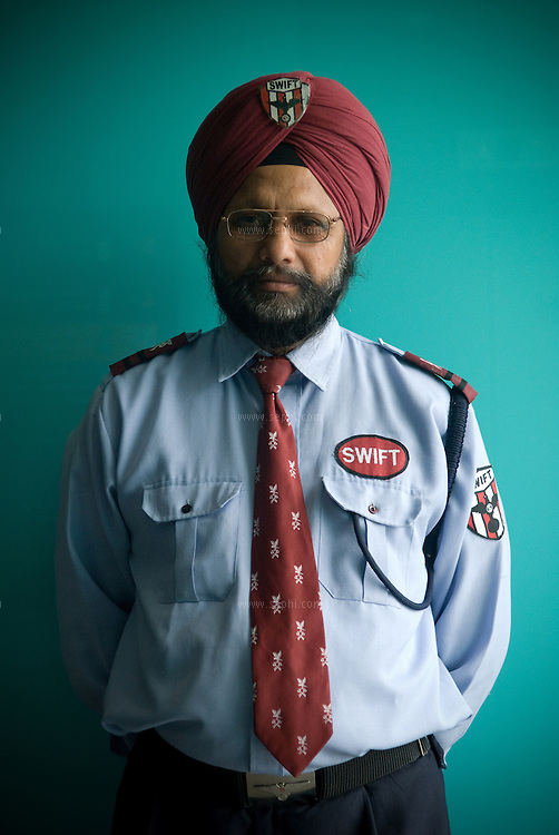 Jagtar Singh (52) is a security guard at the Wave Cinema complex. West End mall, Ludhiana, Punjab