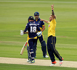 Hampshire's Gareth Berg celebrates taking the wicket of Glamorgan's Mark Wallace - Photo mandatory by-line: Robbie Stephenson/JMP - Mobile: 07966 386802 - 03/07/2015 - SPORT - Cricket - Southampton - The Ageas Bowl - Hampshire v Glamorgan - Natwest T20 Blast