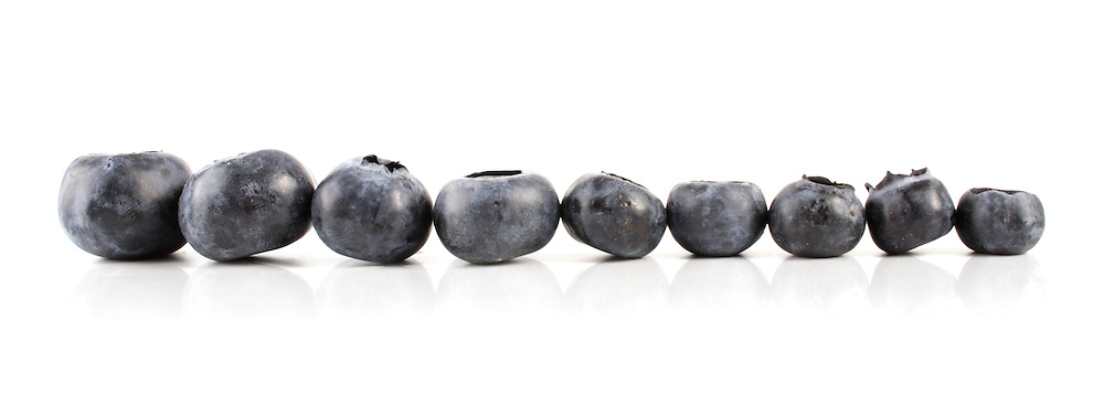 Studio shot of blueberries on white background