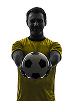 one  man showing giving soccer football in silhouette on white background