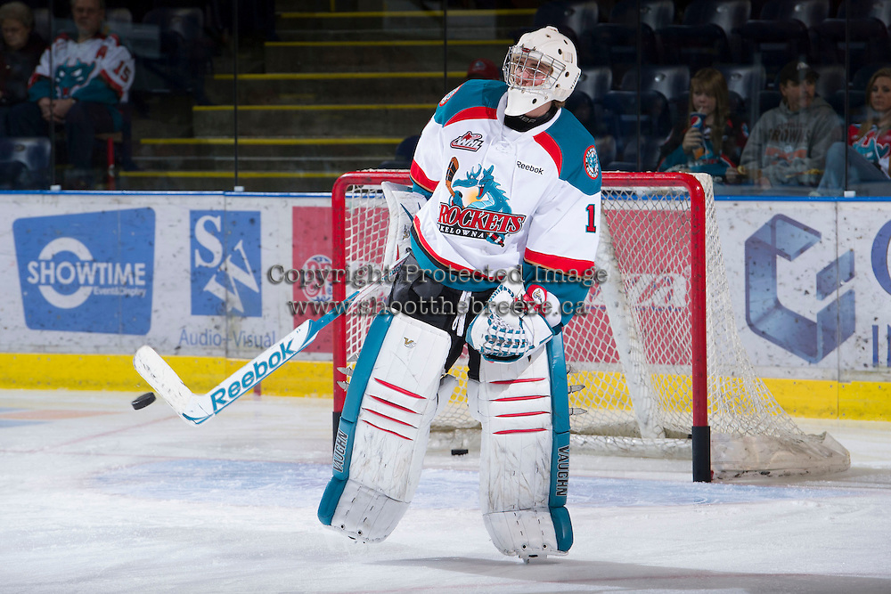 KELOWNA, CANADA - JANUARY 2: Jackson Whistle #1 of the Kelowna Rockets warms up on the ice against the  Victoria Royals at the Kelowna Rockets on January 2, 2013 at Prospera Place in Kelowna, British Columbia, Canada (Photo by Marissa Baecker/Shoot the Breeze) *** Local Caption ***