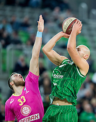 Djordje Simeunovic of Mega Leks vs Mirko Mulalic #8 of KK Union Olimpija during basketball match between KK Union Olimpija Ljubljana and KK mega Leks in 14th Round of ABA League 2016/17, on December 18, 2016 in Arena Stozice, Ljubljana, Slovenia. Photo by Vid Ponikvar / Sportida