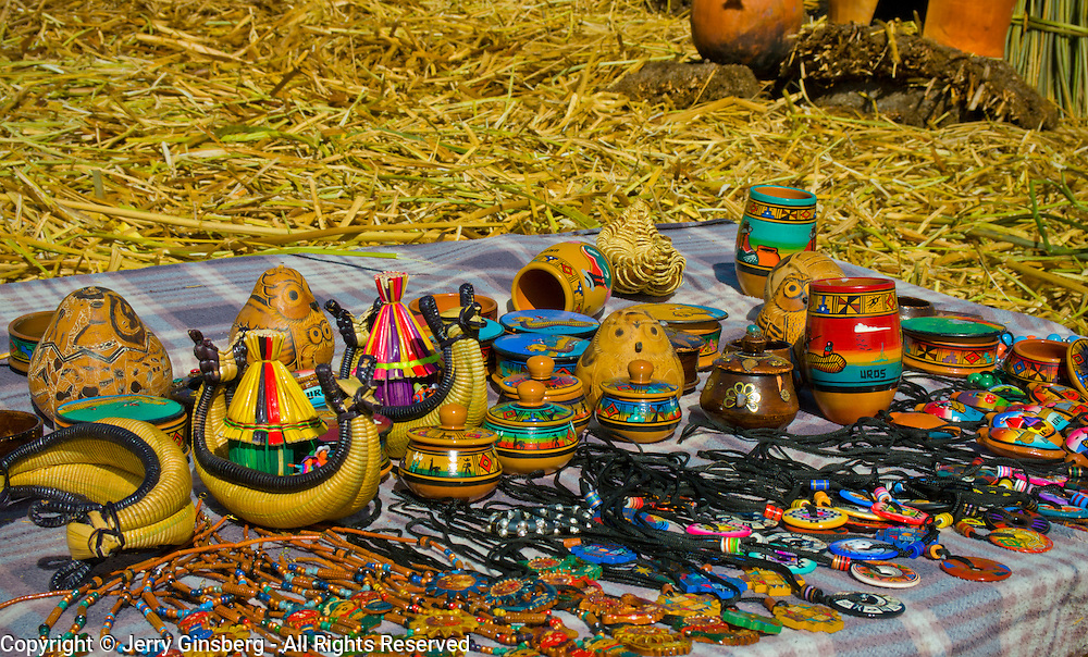 Crafts for sale on the Uros Islands in Lake Titicaca, Peru.