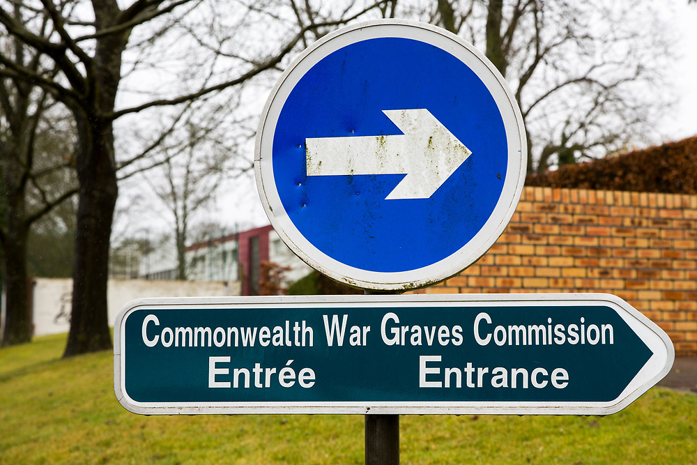 The sign to the head quarters of The Commonwealth War Graves Commission, just outside of Arras, France.   (photo by Andrew Aitchison / In pictures via Getty Images)