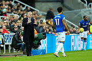 Everton manager Carlo Ancelotti issues instructions to Theo Walcott (#11) of Everton during the Premier League match between Newcastle United and Everton at St. James's Park, Newcastle, England on 28 December 2019.