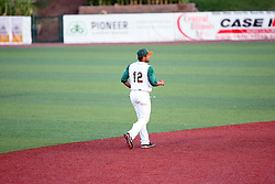 11 July 2012:  Hector Pellot (Joliet Slammer) patrols the shortstop position during the Frontier League All Star Baseball game at Corn Crib Stadium on the campus of Heartland Community College in Normal Illinois