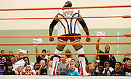 "JB Cool is cheered and jeered before wrestling in the main event at Championship Wrestling Entertainment's Live Pro Wrestling on Friday, May 15, 2015, at the Port St. Lucie Civic Center. CWE is a local ""indie"" wrestling company headquartered in Port St. Lucie. (XAVIER MASCAREÑAS/TREASURE COAST NEWSPAPERS)"
