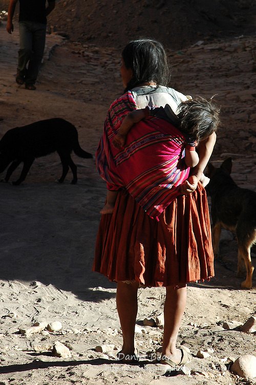 Quechua woman with baby in Torotoro, Bolivia