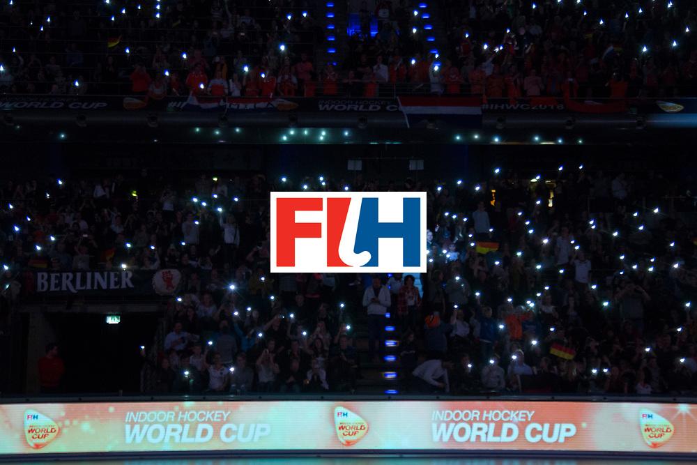 Hockey, Seizoen 2017-2018, 11-02-2018, Berlijn,  Max-Schmelling Halle, WK Zaalhockey 2018 WOMEN, Finale Nederland - Duitsland 1-2, audience with candlelight Worldsportpics copyright Willem Vernes