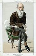 Charles Darwin (1809-82) English naturalist. Evolution by Natural Selection. Cartoon from 'Vanity Fair', London, September 1871.