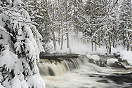 A wintry scene along the Upper section of Bond Falls