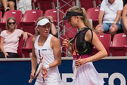 Johanna Larsson (Sweden) and Mona Barthel (Germany) at the 2017 WTA Ericsson Open in Båstad, Sweden, July 26, 2017. Photo Credit: Katja Boll/EVENTMEDIA.