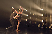 13/01/2015. Dress rehearsal of for the World Premier of Gandini Juggling's new show 4 x 4 Ephemeral Architectures - a sparkling mix of juggling and classical ballet . Linbury Studio Theatre, Royal Opera House, London. Dancers: Kieran Stoneley, Kate Byrne, Erin O'Toole and Joe Bishop.<br /> Jugglers: Kim Huynh, Sakari Männistö, Owen Reynolds and Kati Ylä-Hokkala.