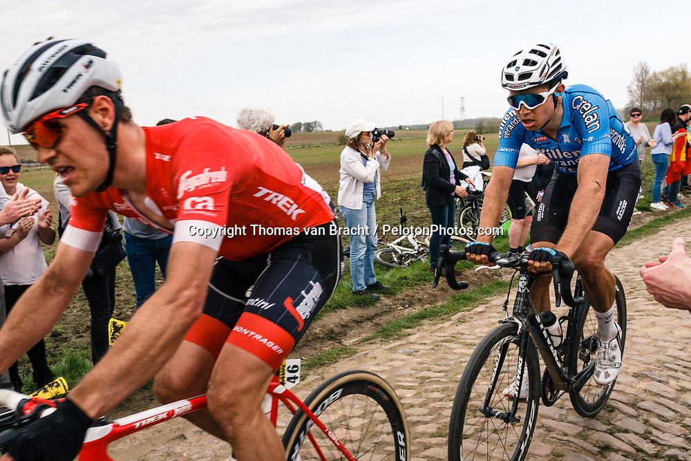 Wout VAN AERT from Belgium of Veranda's Willems Crelan at the 4 star cobblestone sector 11 of Mons-en-Pévèle during the 2018 Paris-Roubaix race, France, 8 April 2018, Photo by Thomas van Bracht / PelotonPhotos.com | All photos usage must carry mandatory copyright credit (Peloton Photos | Thomas van Bracht)