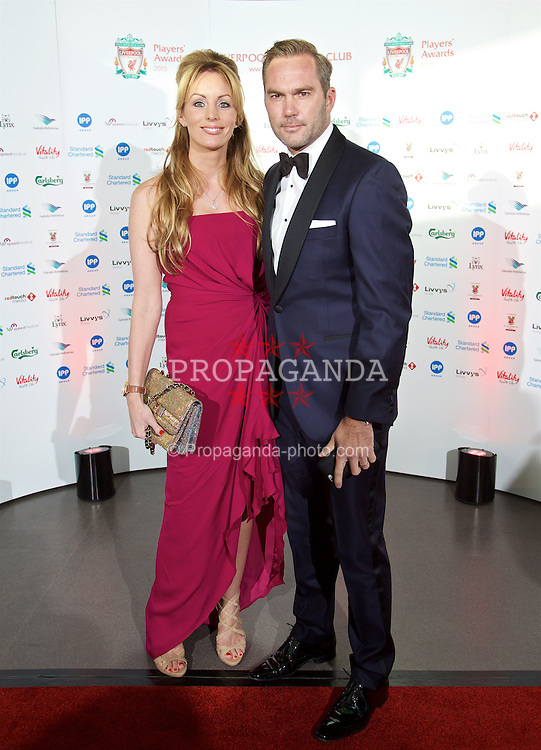 LIVERPOOL, ENGLAND - Tuesday, May 19, 2015: Former Liverpool Jason McAteer and his wife Lucy Edwards arrive on the red carpet for the Liverpool FC Players' Awards Dinner 2015 at the Liverpool Arena. (Pic by David Rawcliffe/Propaganda)