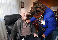 HS1HEART17P <br /> Nurse practitioner Janet Dunn (right) checks the heart rate of Oivind Midthassel of Southampton, Pennsylvania`Friday December 11, 2015 in Southampton, Pennsylvania. (William Thomas Cain/For The Inquirer)