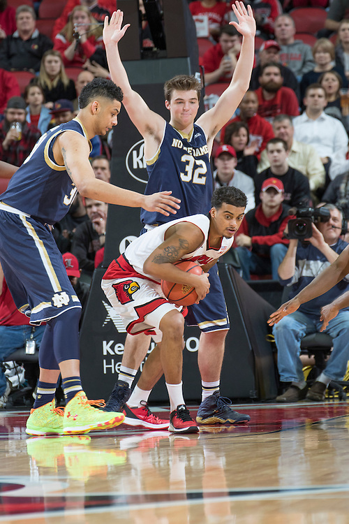 Louisville guard Quentin Snider. <br /> <br /> The University of Louisville hosted Notre Dame, Wednesday, March 04, 2015 at Yum Center in Louisville. <br /> <br /> Photo by Jonathan Palmer